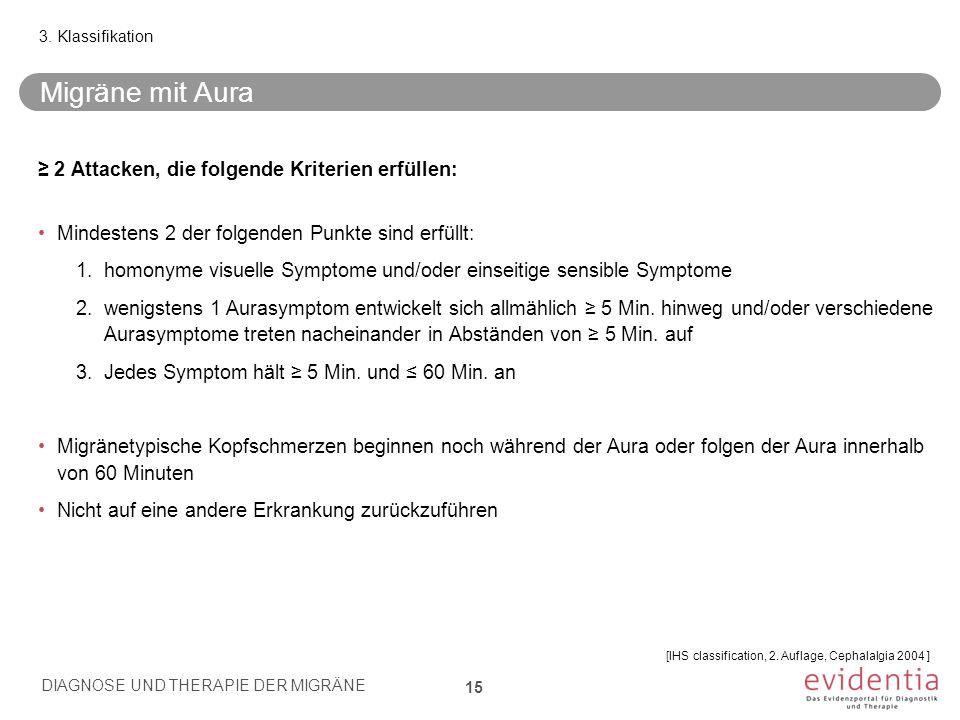 Migräne mit Aura ≥ 2 Attacken, die folgende Kriterien erfüllen: