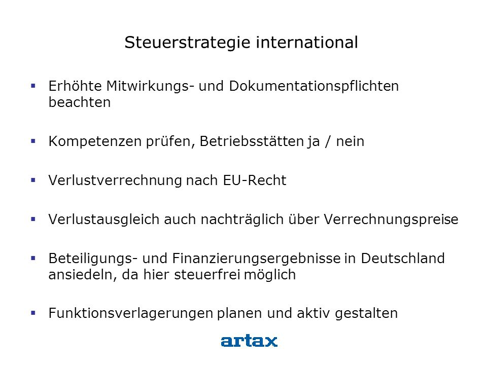 Steuerstrategie international