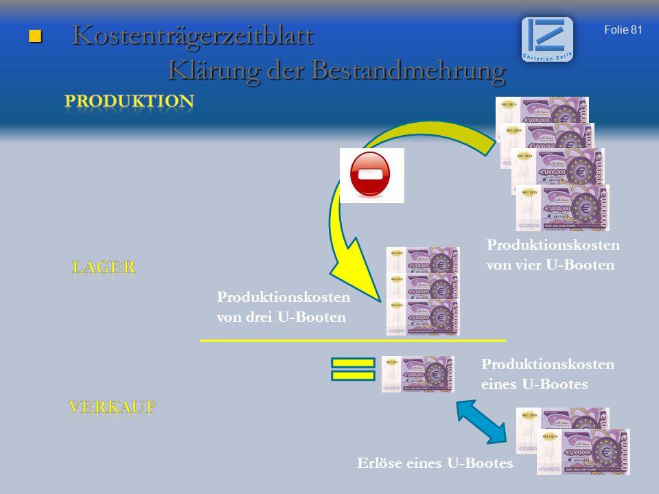 Kostenträgerzeitblatt Klärung der Bestandmehrung