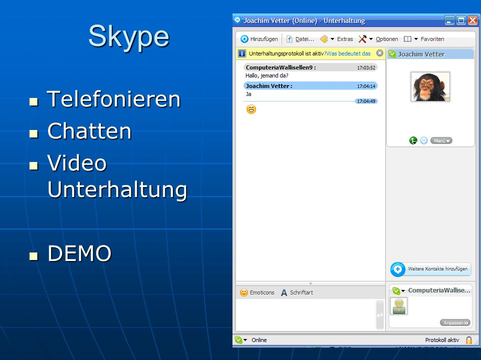Skype Telefonieren Chatten Video Unterhaltung DEMO