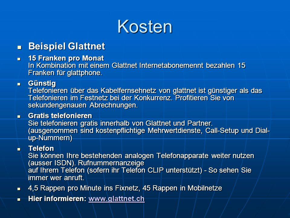 Kosten Beispiel Glattnet