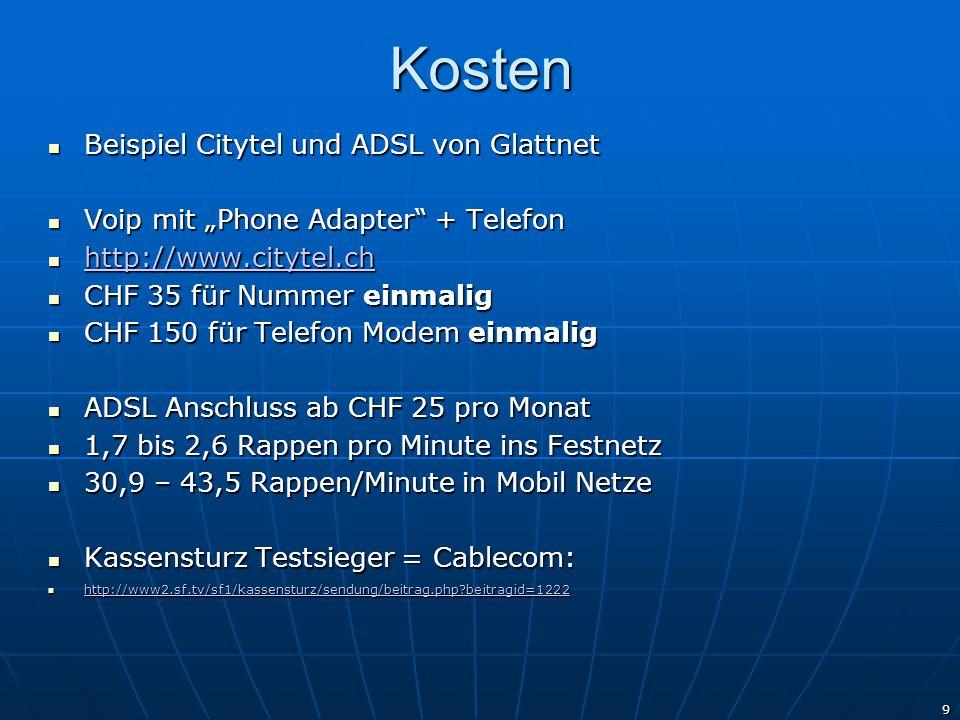 Kosten Beispiel Citytel und ADSL von Glattnet