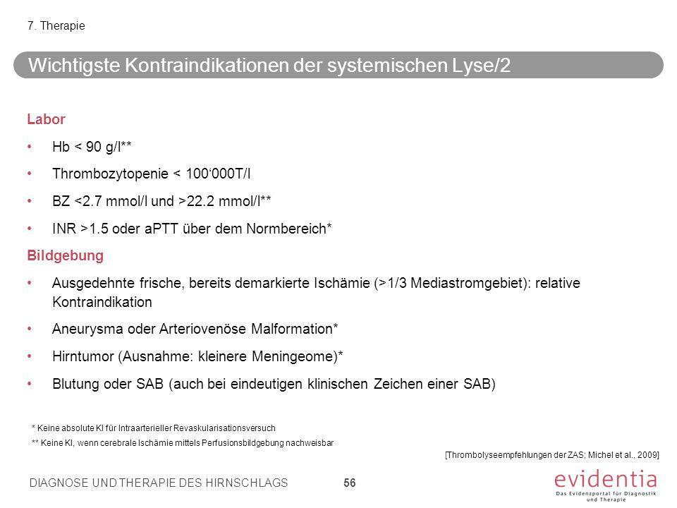 Wichtigste Kontraindikationen der systemischen Lyse/2