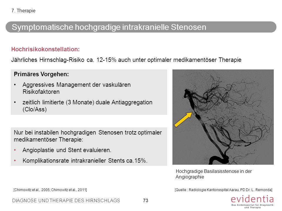 Symptomatische hochgradige intrakranielle Stenosen