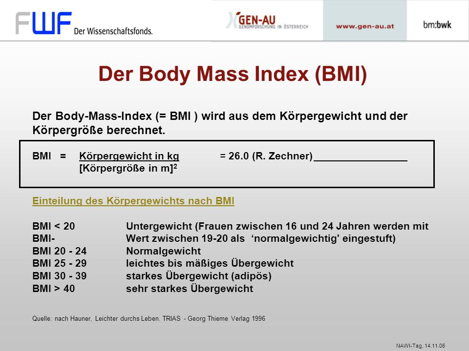 Der Body Mass Index (BMI)