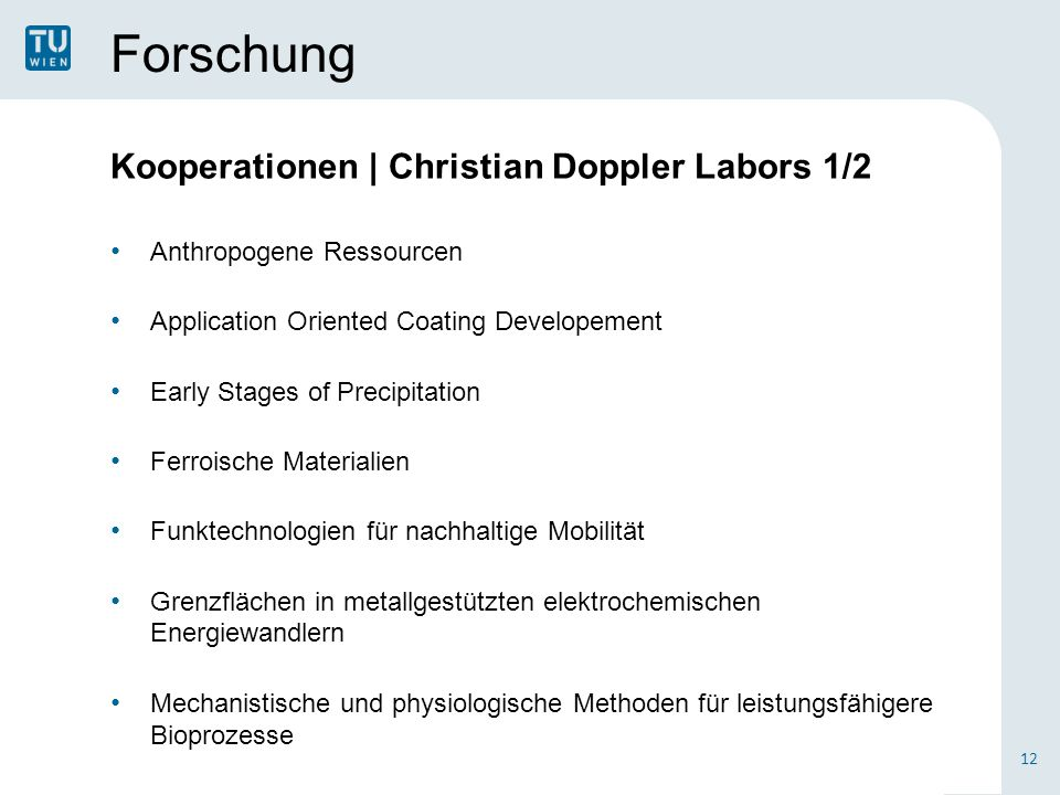 Forschung Kooperationen | Christian Doppler Labors 1/2