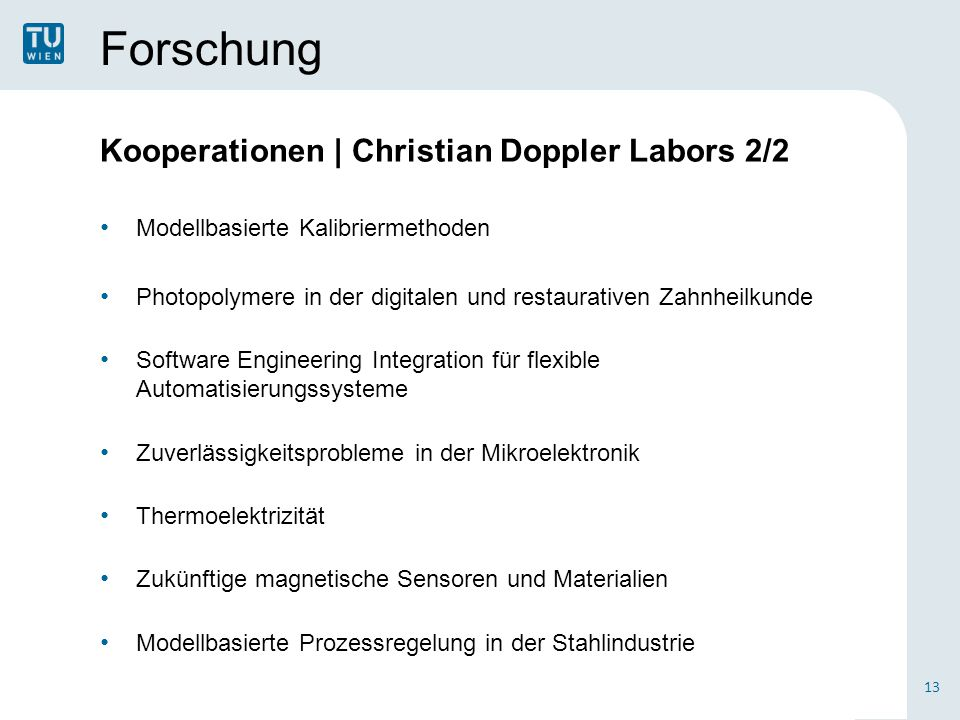 Forschung Kooperationen | Christian Doppler Labors 2/2