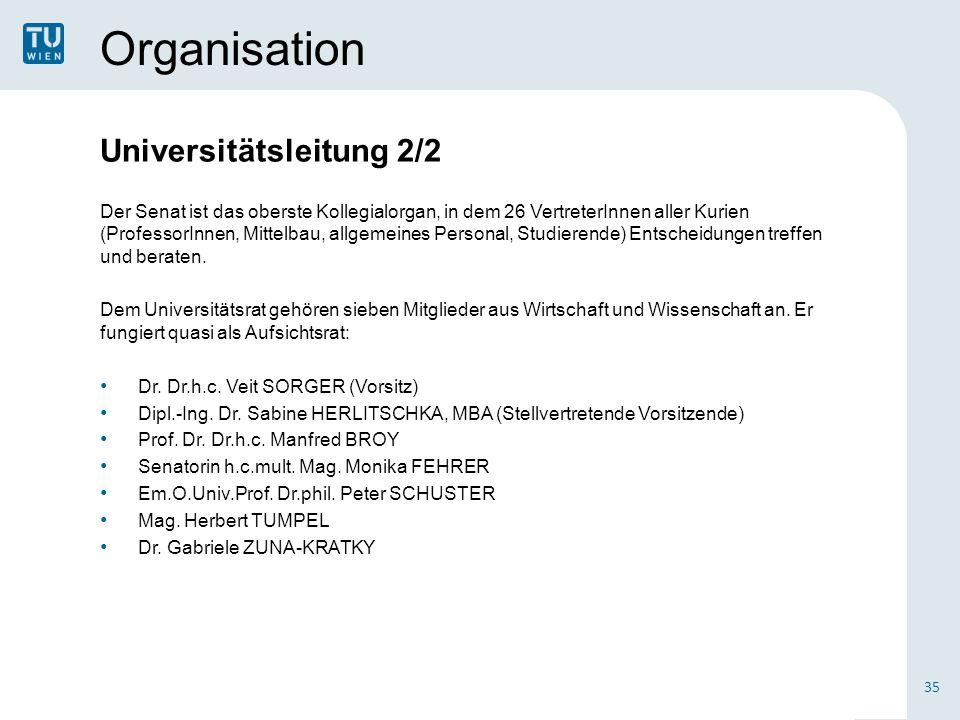 Organisation Universitätsleitung 2/2