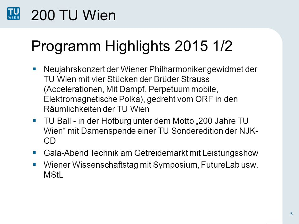 Programm Highlights 2015 1/2 200 TU Wien