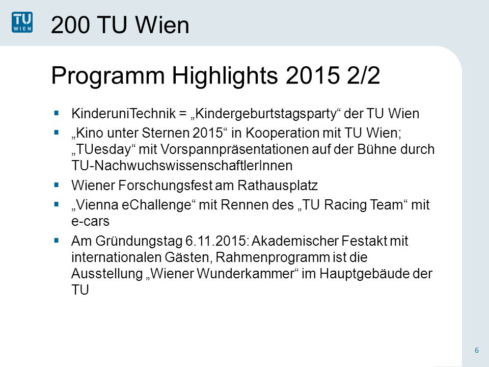Programm Highlights 2015 2/2 200 TU Wien