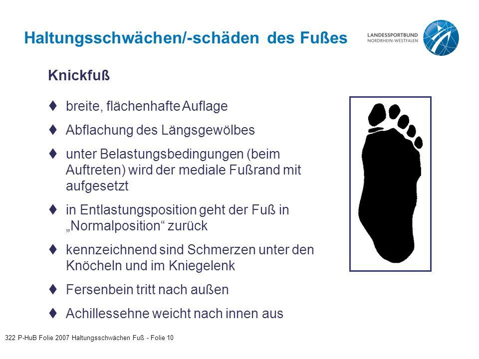 Haltungsschwächen/-schäden des Fußes