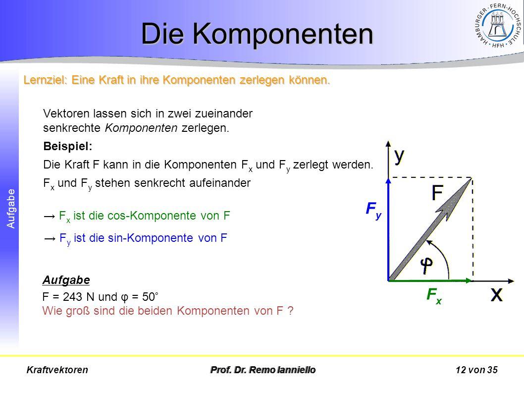 Die Komponenten Lernziel: Eine Kraft in ihre Komponenten zerlegen können. Vektoren lassen sich in zwei zueinander senkrechte Komponenten zerlegen.