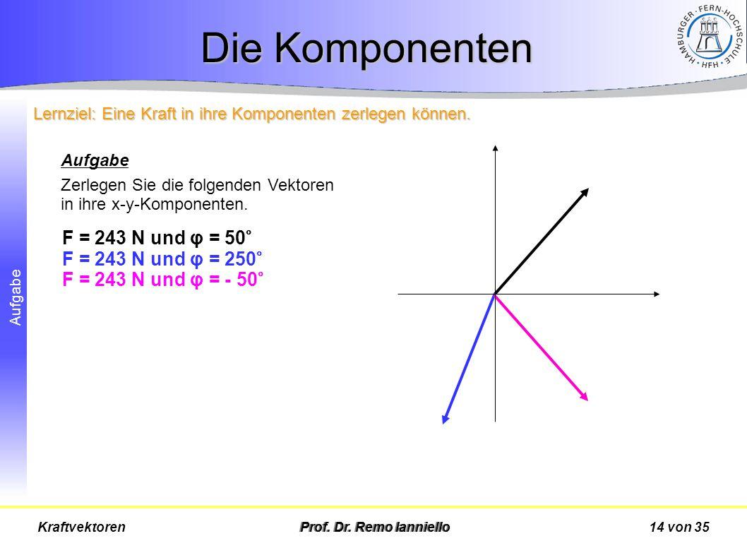 Die Komponenten F = 243 N und φ = 50° F = 243 N und φ = 250°