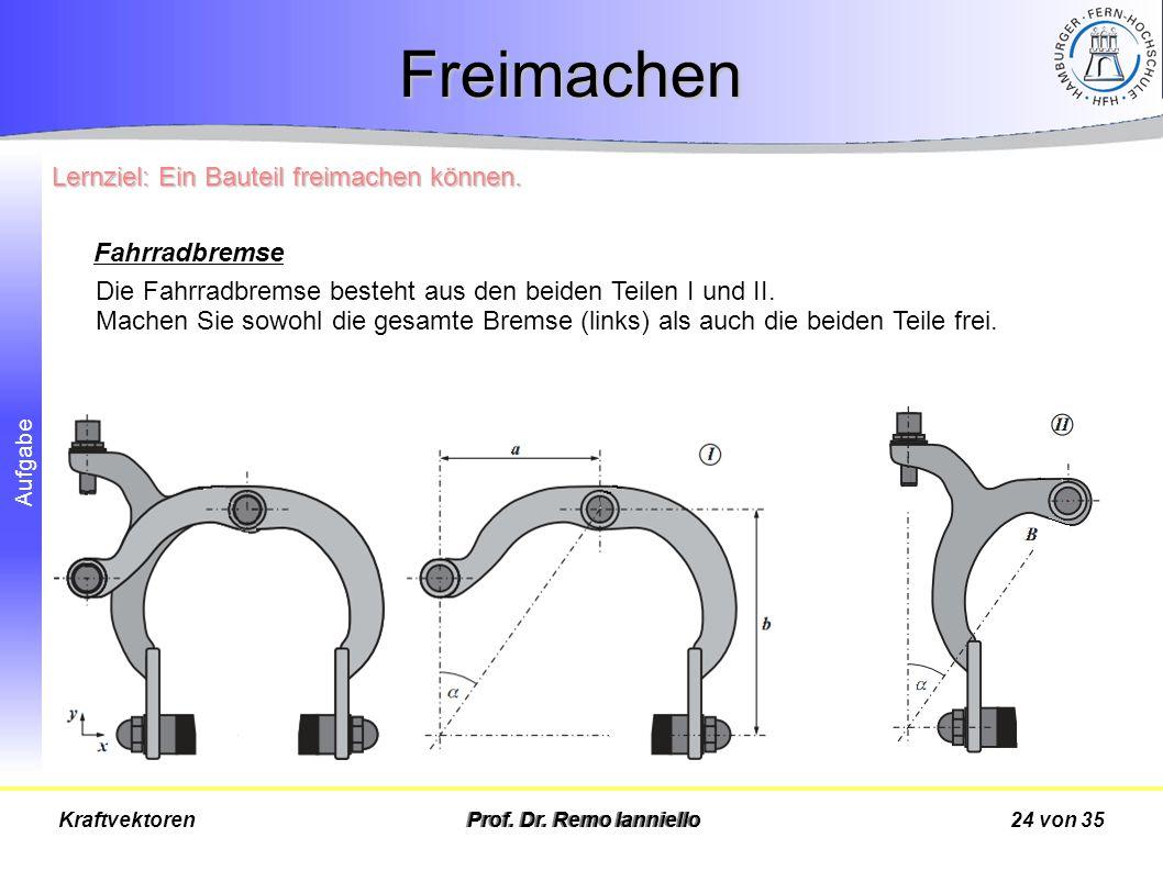 Freimachen Lernziel: Ein Bauteil freimachen können. Fahrradbremse