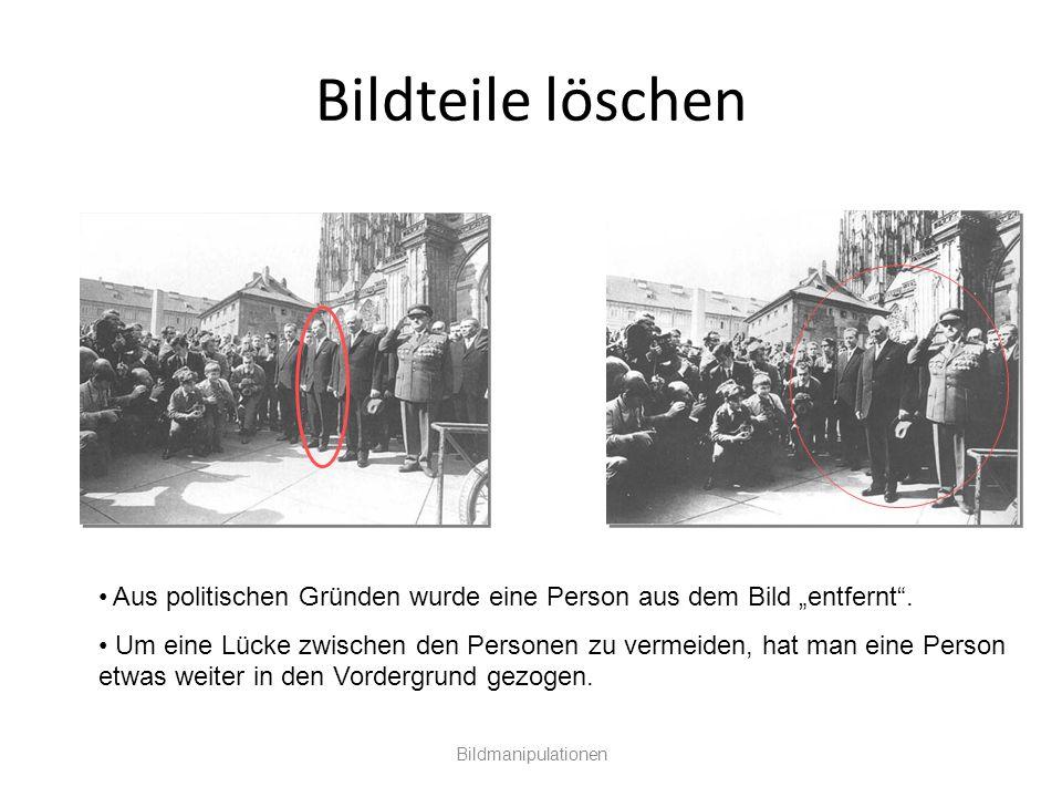 """Bildteile löschen Aus politischen Gründen wurde eine Person aus dem Bild """"entfernt ."""