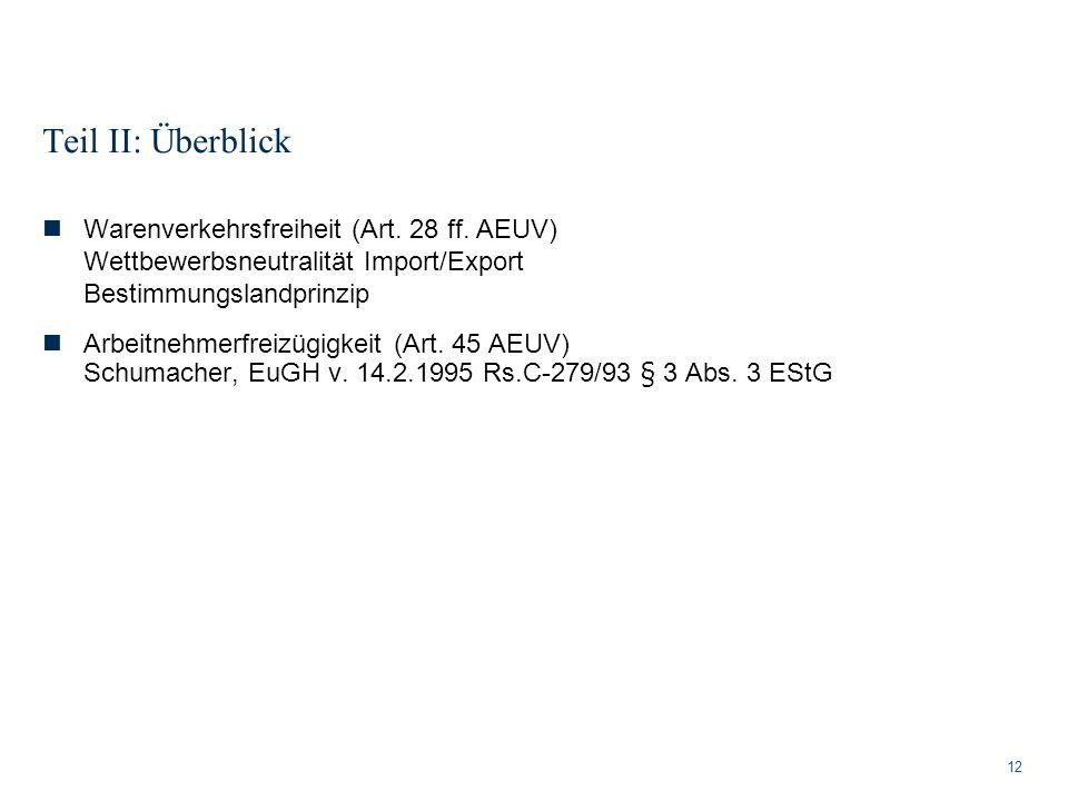 Teil II: Überblick Warenverkehrsfreiheit (Art. 28 ff. AEUV) Wettbewerbsneutralität Import/Export Bestimmungslandprinzip.