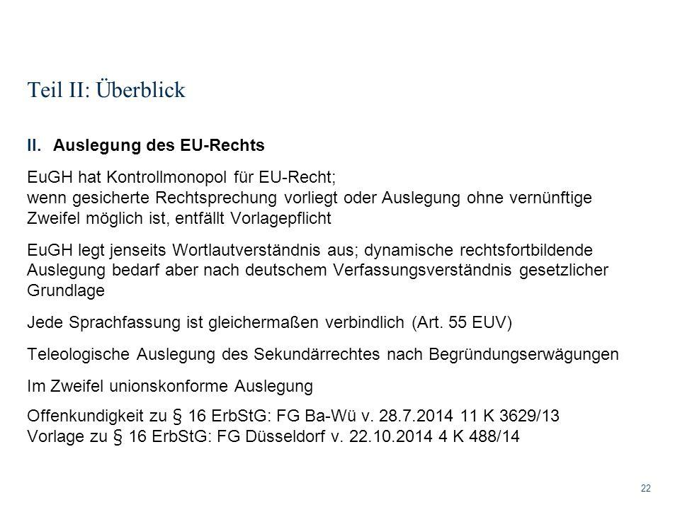 Teil II: Überblick Auslegung des EU-Rechts
