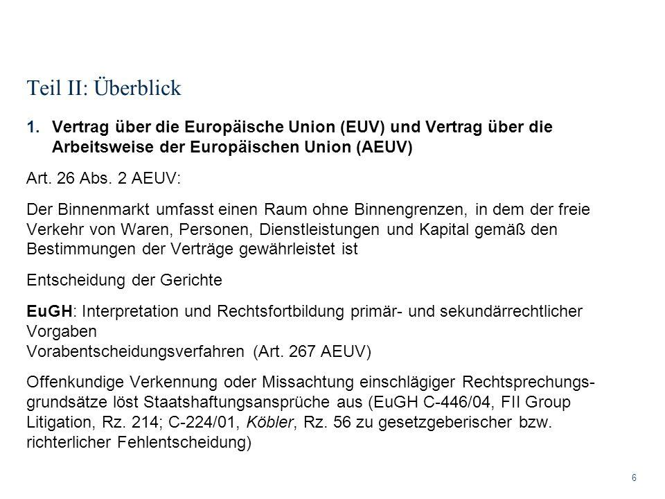 Teil II: Überblick Vertrag über die Europäische Union (EUV) und Vertrag über die Arbeitsweise der Europäischen Union (AEUV)