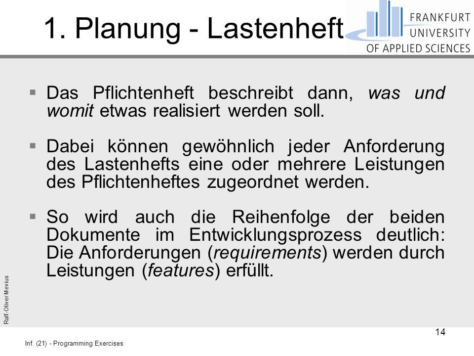 1. Planung - Lastenheft Das Pflichtenheft beschreibt dann, was und womit etwas realisiert werden soll.