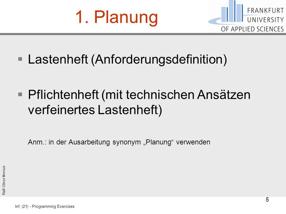 1. Planung Lastenheft (Anforderungsdefinition)