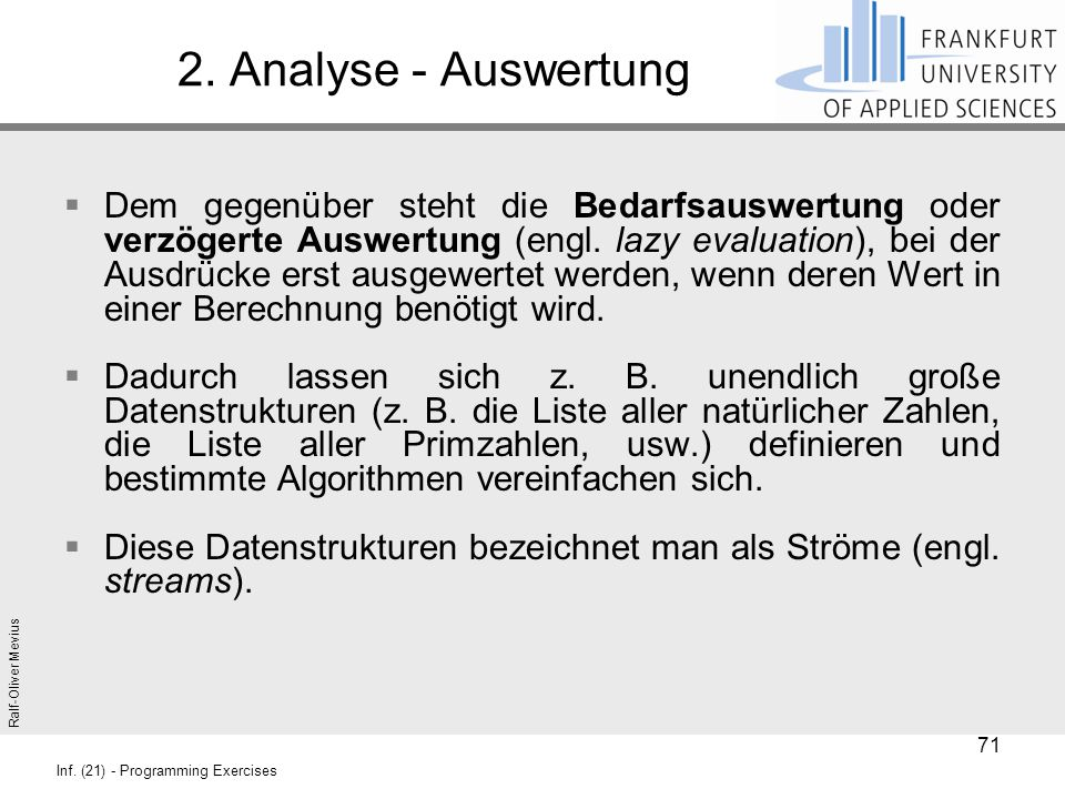 2. Analyse - Auswertung