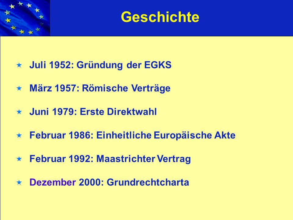 Geschichte Juli 1952: Gründung der EGKS März 1957: Römische Verträge