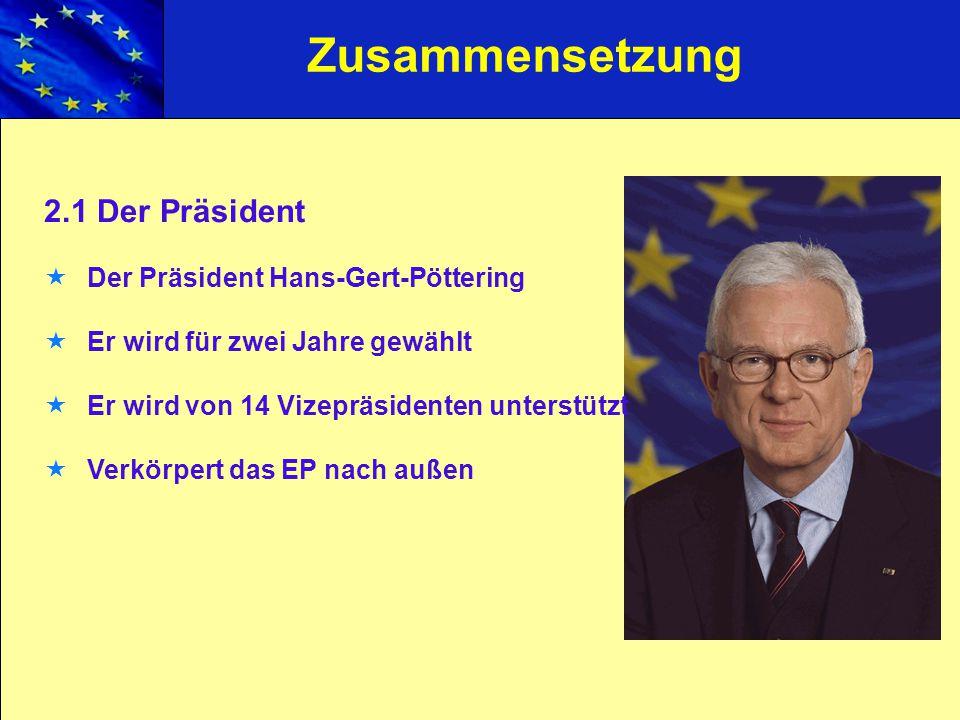 Zusammensetzung 2.1 Der Präsident Der Präsident Hans-Gert-Pöttering