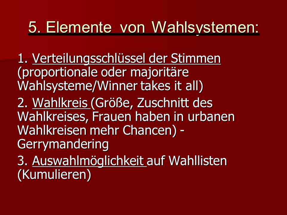 5. Elemente von Wahlsystemen: