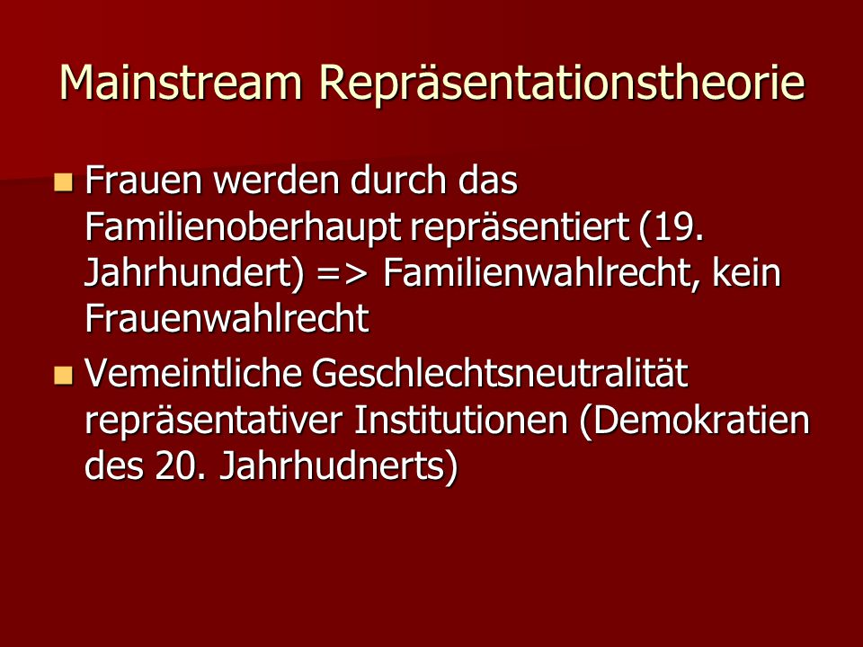 Mainstream Repräsentationstheorie