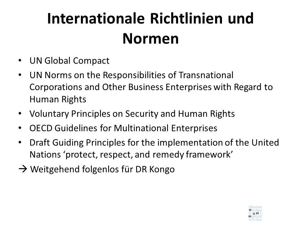 Internationale Richtlinien und Normen