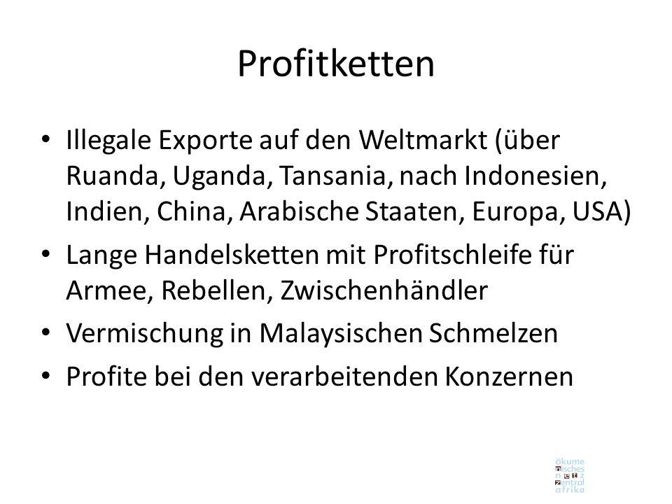 Profitketten Illegale Exporte auf den Weltmarkt (über Ruanda, Uganda, Tansania, nach Indonesien, Indien, China, Arabische Staaten, Europa, USA)