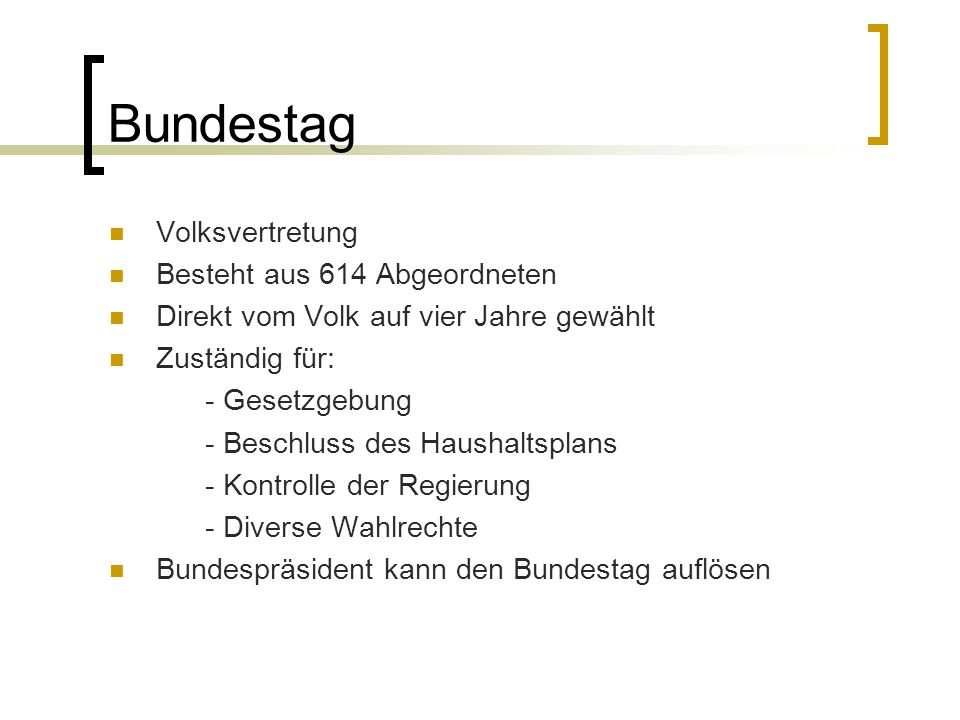 Bundestag Volksvertretung Besteht aus 614 Abgeordneten