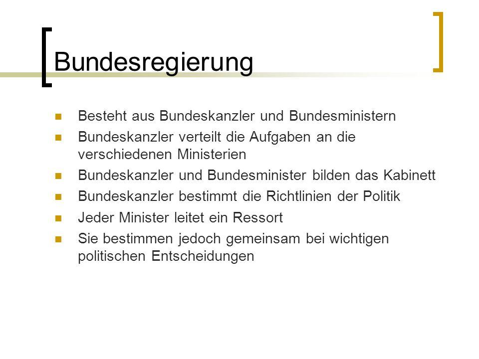 Bundesregierung Besteht aus Bundeskanzler und Bundesministern