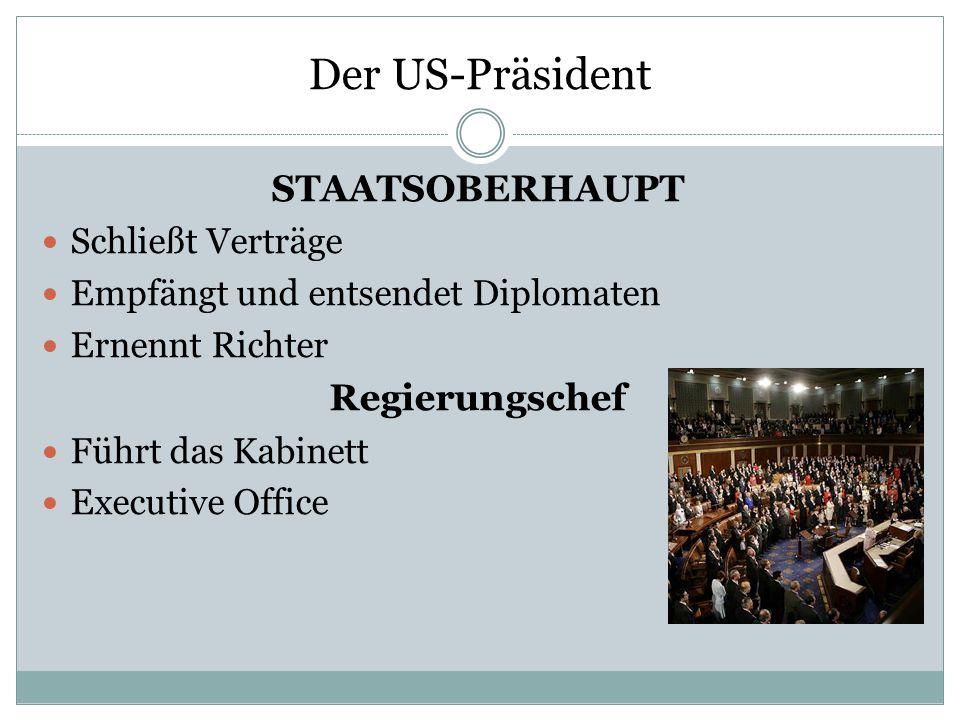 Der US-Präsident Staatsoberhaupt Regierungschef Schließt Verträge