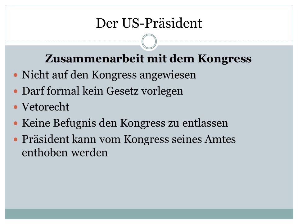 Zusammenarbeit mit dem Kongress