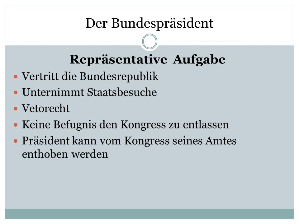 Der Bundespräsident Repräsentative Aufgabe Vertritt die Bundesrepublik
