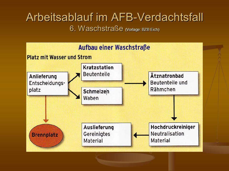 Arbeitsablauf im AFB-Verdachtsfall 6. Waschstraße (Vorlage: BZB Eich)