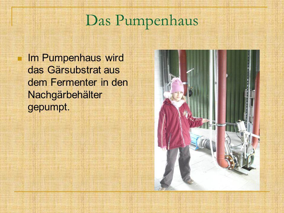 Das Pumpenhaus Im Pumpenhaus wird das Gärsubstrat aus dem Fermenter in den Nachgärbehälter gepumpt.