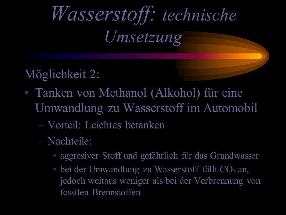 Wasserstoff: technische Umsetzung