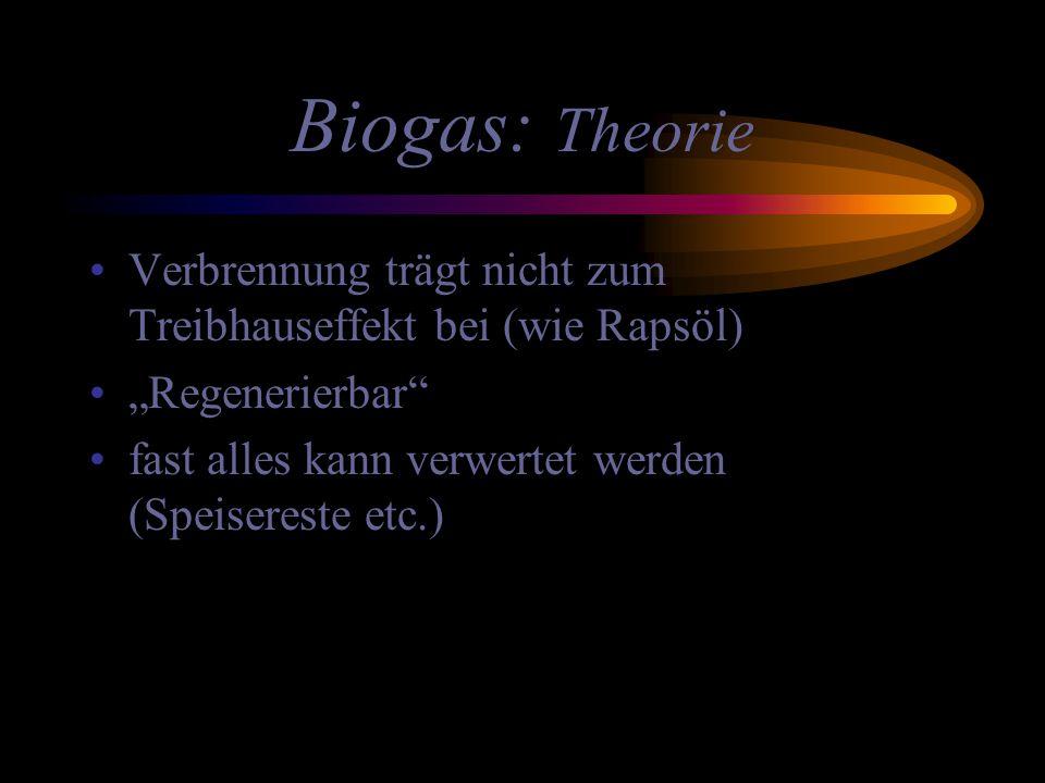 """Biogas: Theorie Verbrennung trägt nicht zum Treibhauseffekt bei (wie Rapsöl) """"Regenerierbar fast alles kann verwertet werden (Speisereste etc.)"""