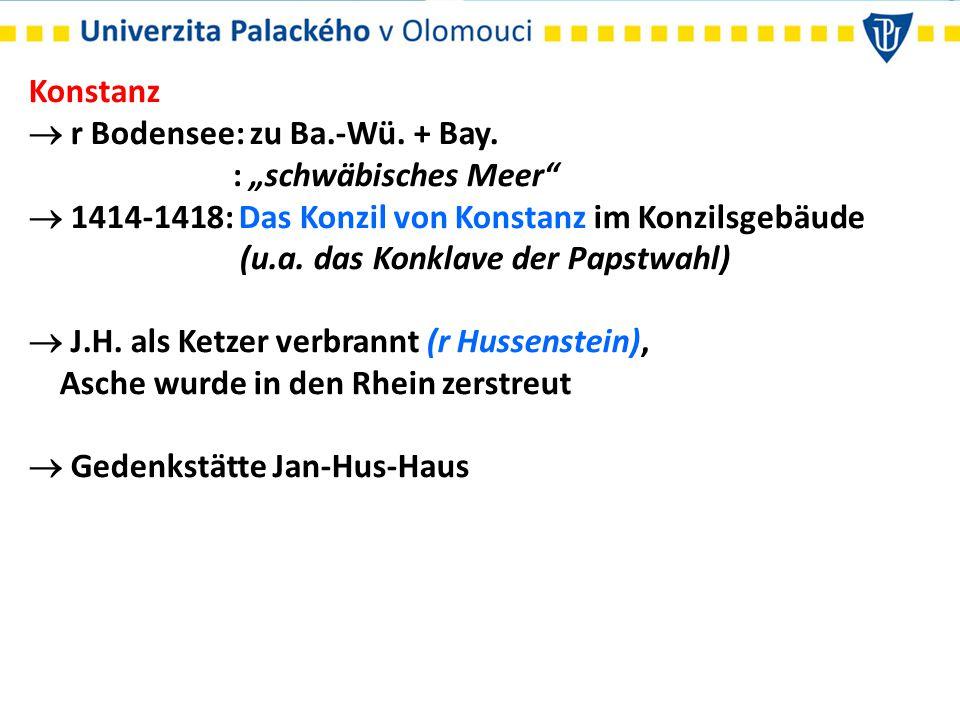 """Konstanz  r Bodensee: zu Ba.-Wü. + Bay. : """"schwäbisches Meer  1414-1418: Das Konzil von Konstanz im Konzilsgebäude."""