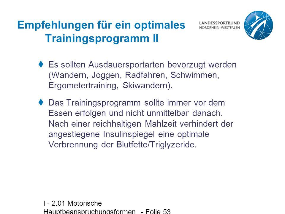 Empfehlungen für ein optimales Trainingsprogramm II