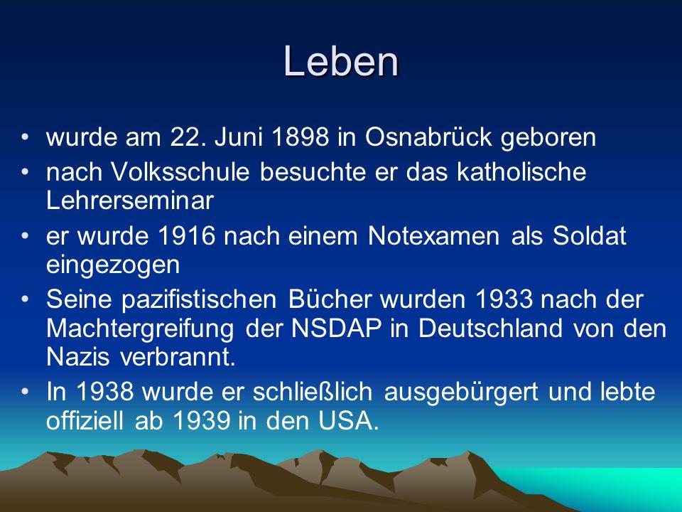 Leben wurde am 22. Juni 1898 in Osnabrück geboren