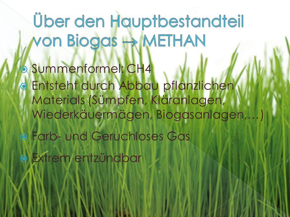 Über den Hauptbestandteil von Biogas  METHAN