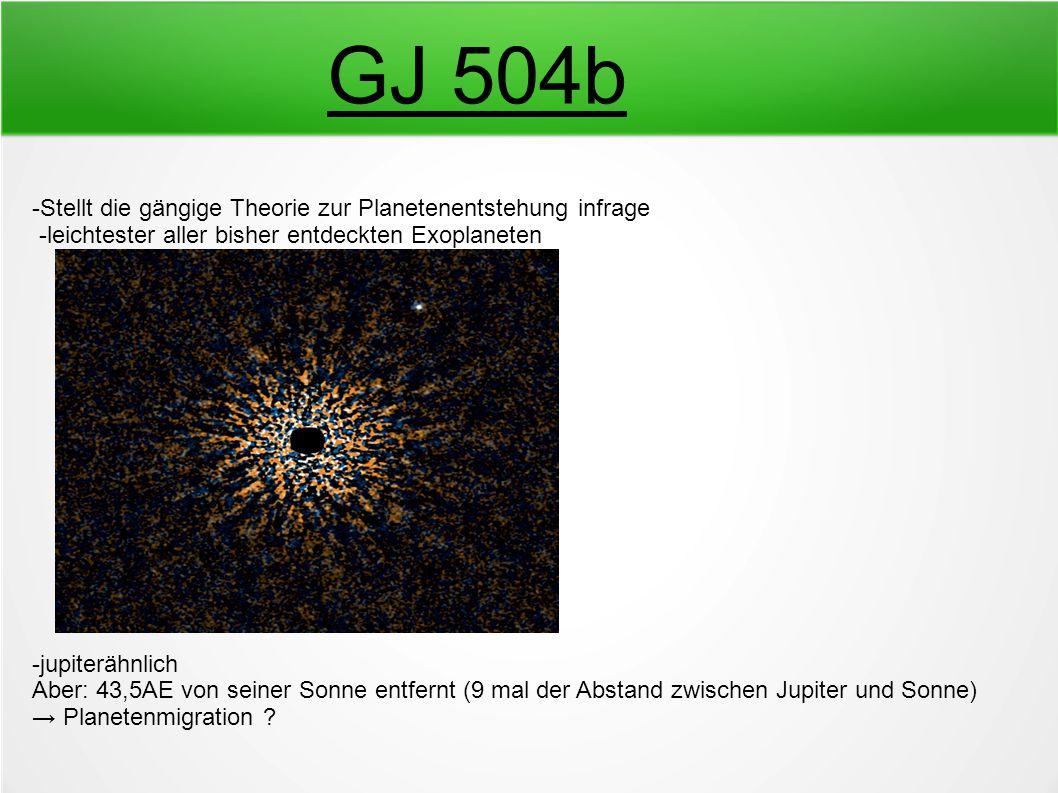 GJ 504b -Stellt die gängige Theorie zur Planetenentstehung infrage