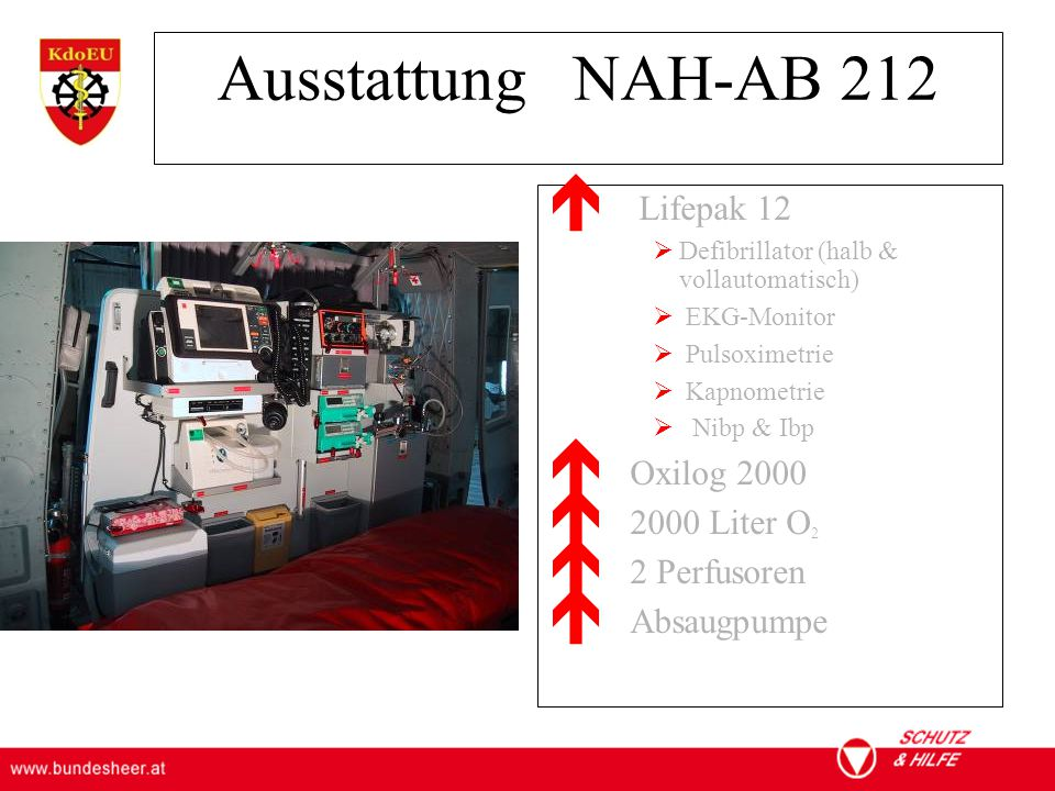 Ausstattung NAH-AB 212 Lifepak 12 Oxilog 2000 2000 Liter O2