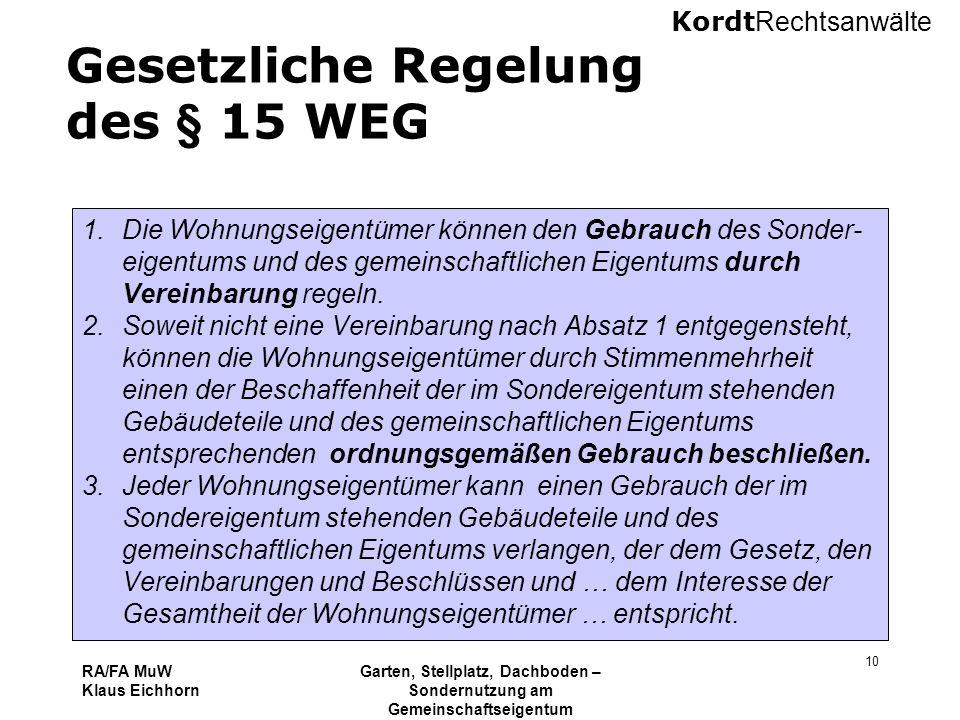 Gesetzliche Regelung des § 15 WEG
