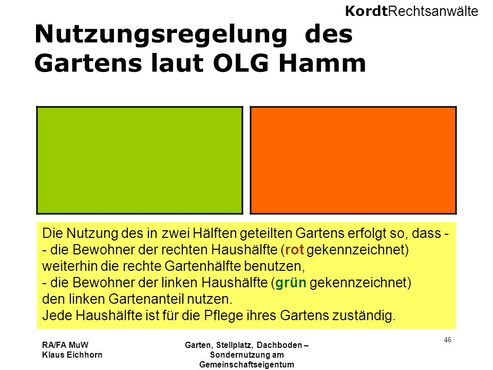Nutzungsregelung des Gartens laut OLG Hamm
