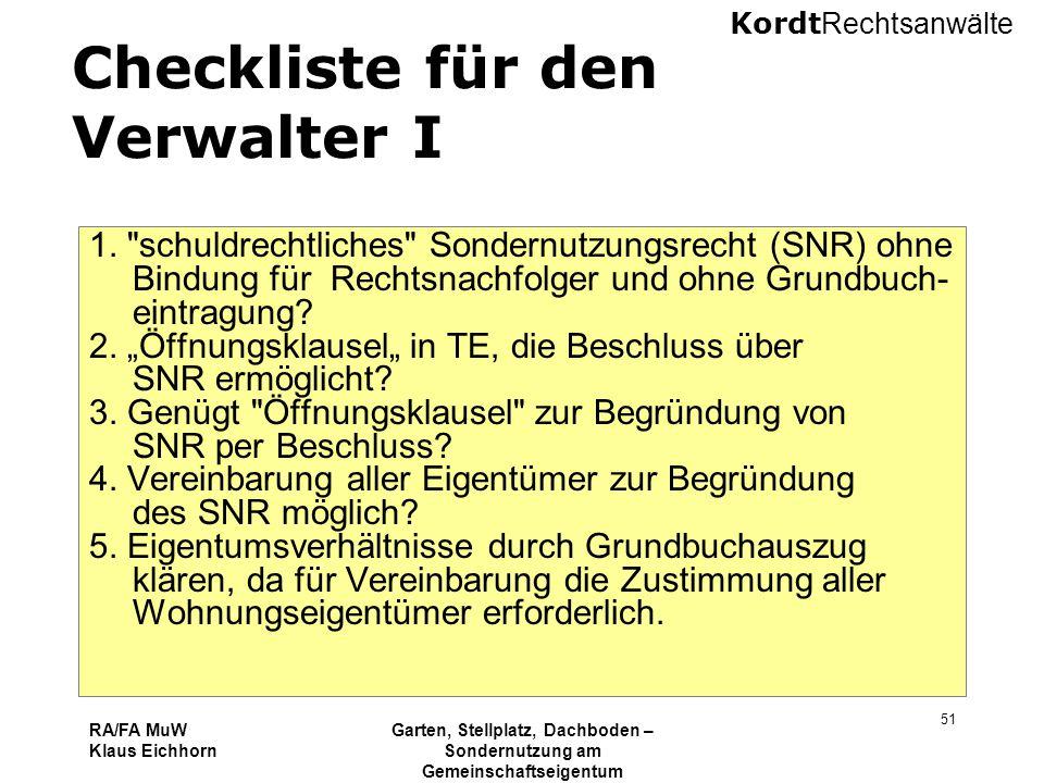 Checkliste für den Verwalter I