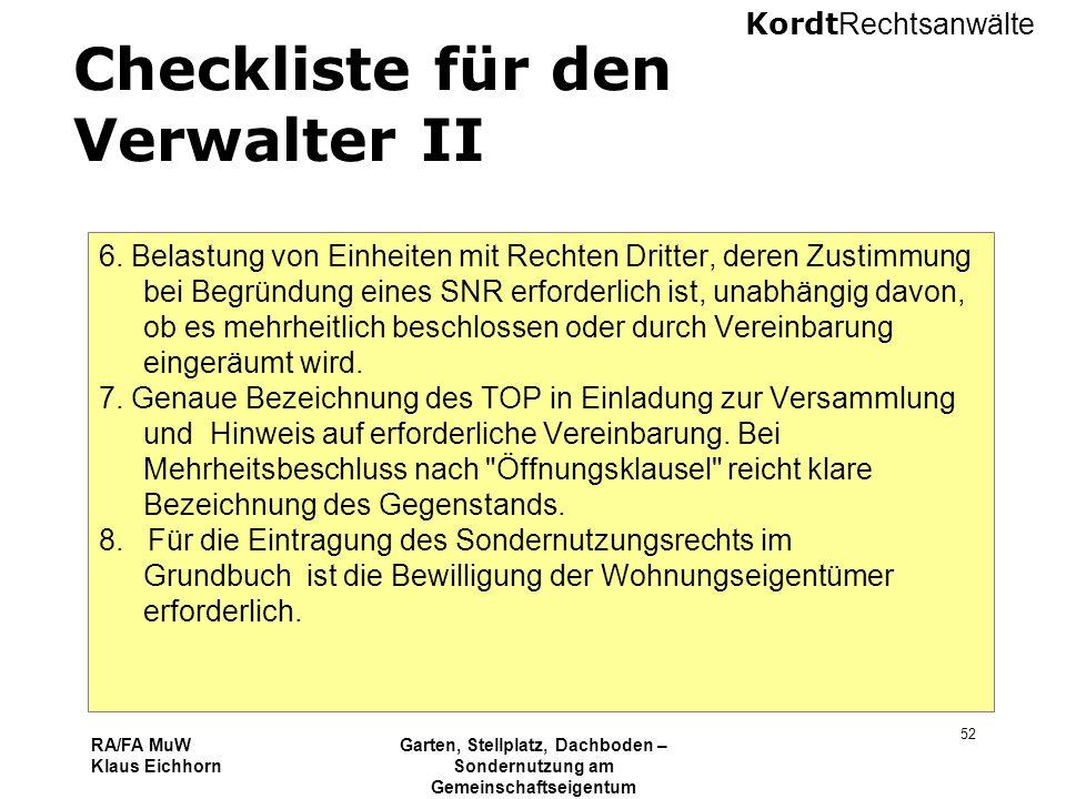 Checkliste für den Verwalter II
